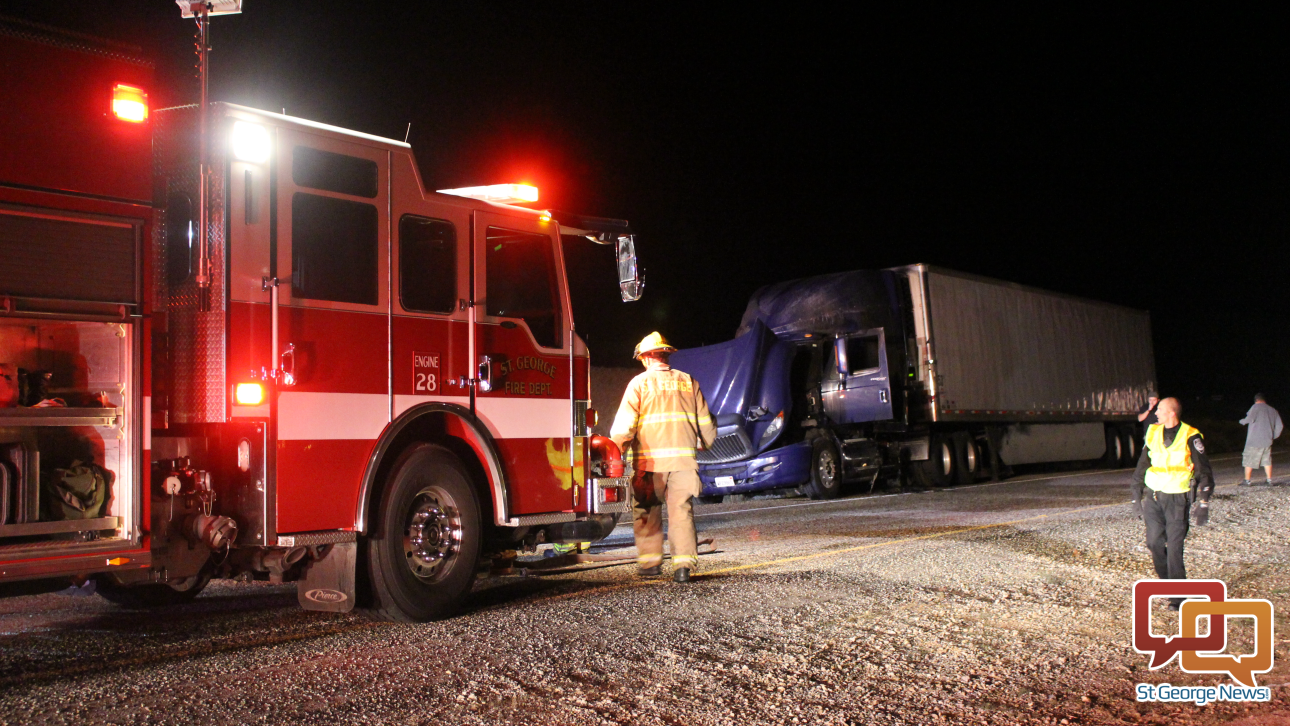 The St. George Fire Department, Utah Highway Patrol and Arizona Department of Public Safety responded to a semitractor fire on northbound I-15 at Exit 2 Saturday night. The fire was quickly doused by fire crews and no one was injured, though the semitractor is considered a loss, St. George, Utah, Nov. 28, 2015 | Photo by Mori Kessler, St. George News