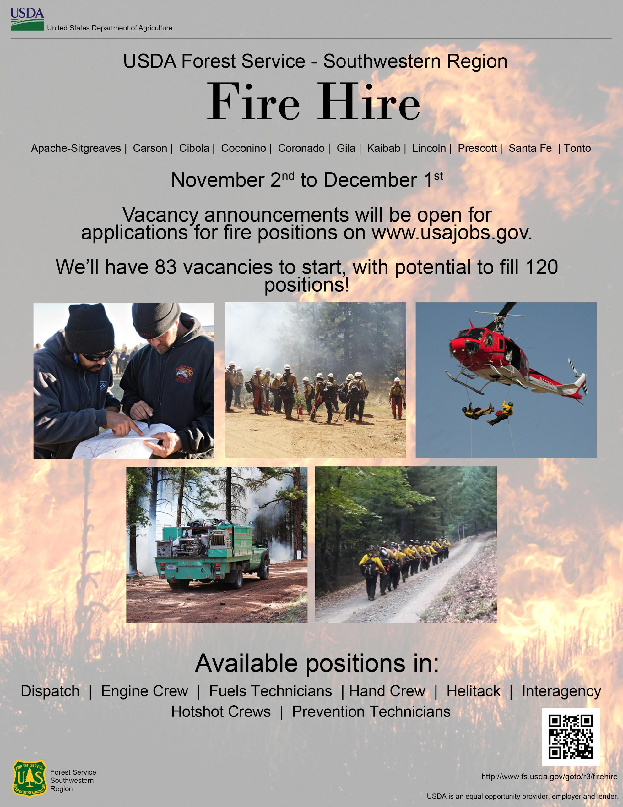 fire departments recruit for open jobs st george news fire hire flyer image courtesy of kaibab national forest st george news