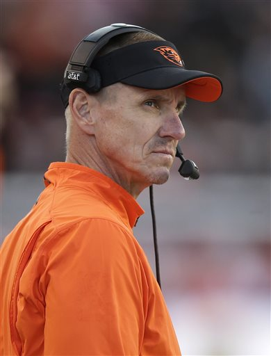 Oregon State head coach Gary Andersen looks on in the second quarter during an NCAA college football game against Utah, Saturday, Oct. 31, 2015, in Salt Lake City. (AP Photo/Rick Bowmer)