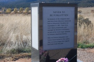 A monument dedicated to the men and boys that were killed in the Mountain Meadows Massacre sits on the site where the Sept. 11, 1857 massacre is said to have taken place, Mountain Meadows, Nov. 7, 2011