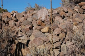 A rock pile located in a ravine near Mountain Meadows which California archaeologist, Everett Bassett claims is a mass grave site containing the remains of the Mountain Meadows Massacre victims, Mountain Meadows, Nov. 7, 2015 | Photo by Hollie Reina, St. George News