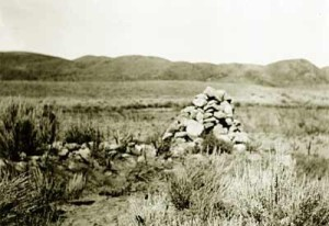 An old photograph shows a rock cairn said to have marked areas where the bones of massacre victims were buried, Mountain Meadows, date not specified | Photo courtesy of Timothy Draper, St. George News