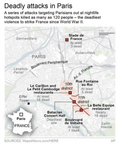 Map locates the deadly terror attacks in and around Paris, France.; (AP)