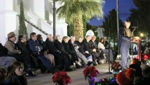 Elder Kevin Ence, an Area Authority Seventy of the LDS Church (far right) was the featured speaker at the LDS St. George Temple lighting ceremony, St. George, Utah, Nov. 27, 2015 | Photo by Mori Kessler, St. George News