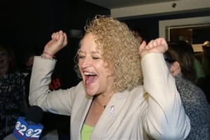 Former state lawmaker Jackie Biskupski reacts as results come in at her election night party for Salt Lake City Mayor, Salt Lake City, Utah, Nov. 3, 2015 | Photo by AP/Rick Bowmer, St. George News