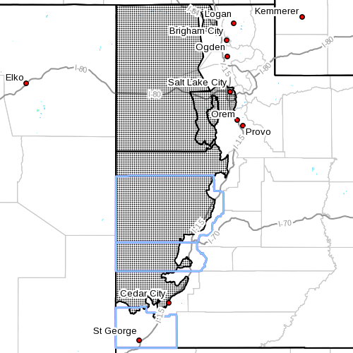 Dots indicate area affected by wind advisory, Nov. 8, 2015 | Photo courtesy of the National Weather Service, St. George News