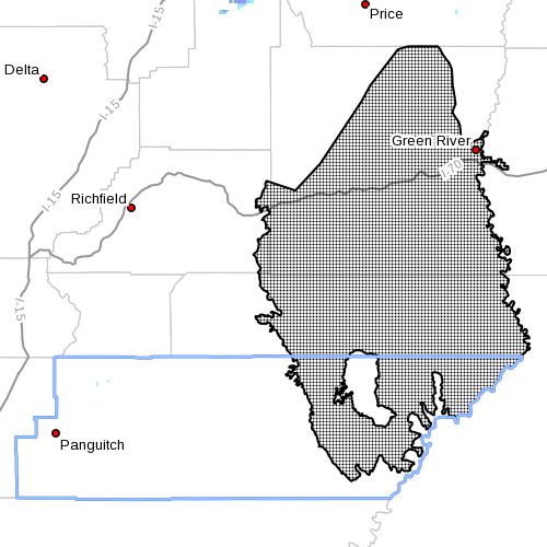 Dots indicate area affected by the winter weather advisory, Nov. 9, 2015, 4:05 p.m. | Image courtesy of the National Weather Service, St. George News | Click image to enlarge