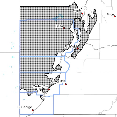"Dots indicate the area affected by the ""High Wind Watch"" forecast for Monday in Southern Utah, issued Nov. 1, 2015 