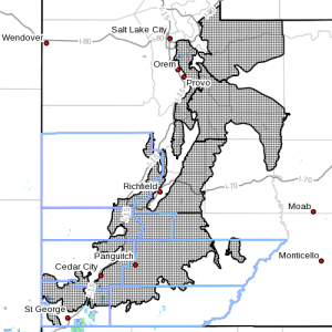 Dots denote the area affected by the winter weather advisor, Nov. 15, 2015 | Image courtesy of the National Weather Service, St. George News | Click image to enlarge