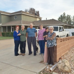 Homeowners Douglas and Vivian Wiseman with neighbors that reported fire early, Ivins, Utah, Dec. 8, 2015| Photo by Cody Blowers, St. George News