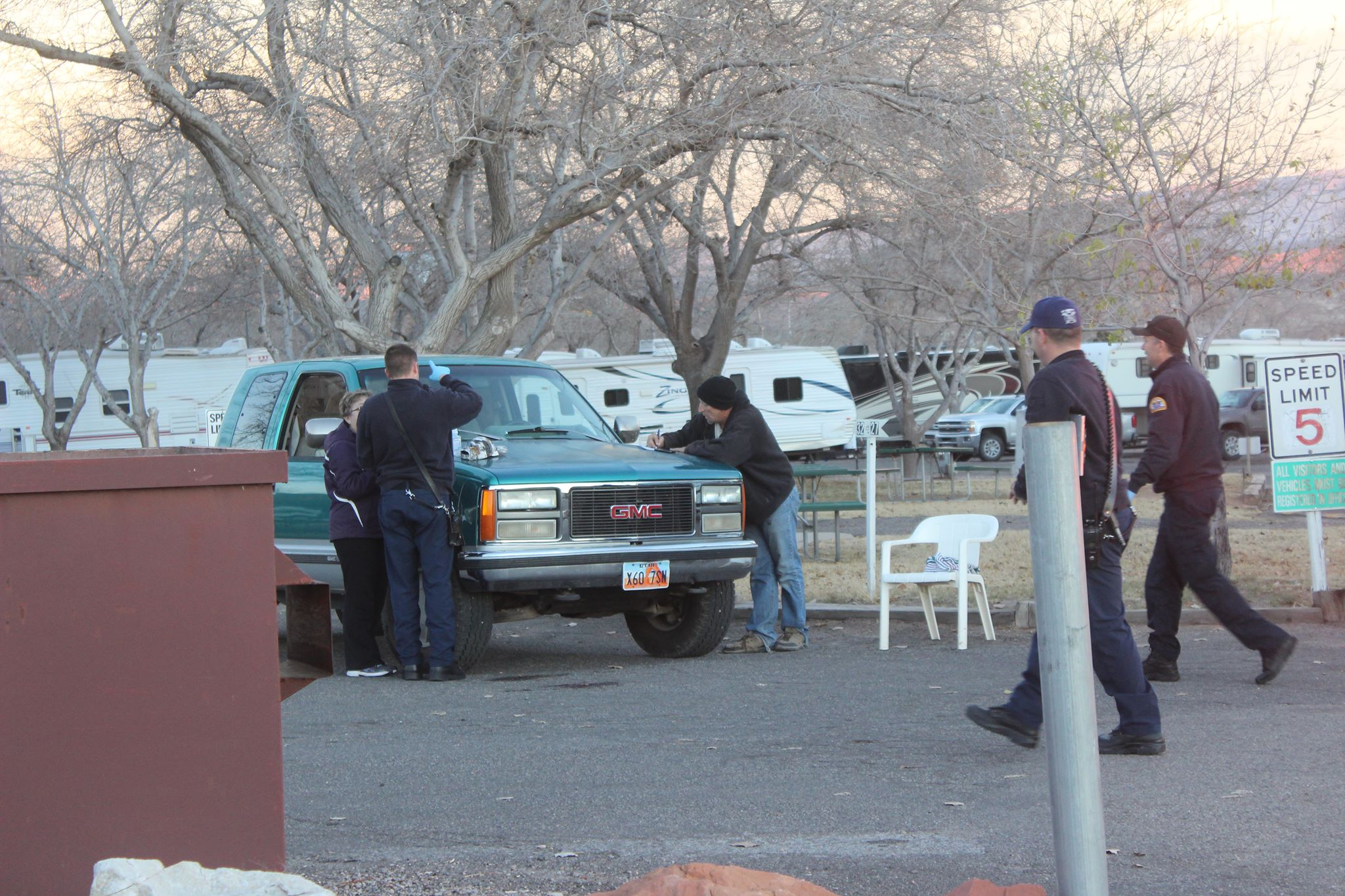 A truck hit a  pedestrian in the St. George RV Park Campground when, police said, he was temporarily blinded by the sun. St. George, Utah, Dec. 13, 2015   Photo by Don Gilman, St. George News