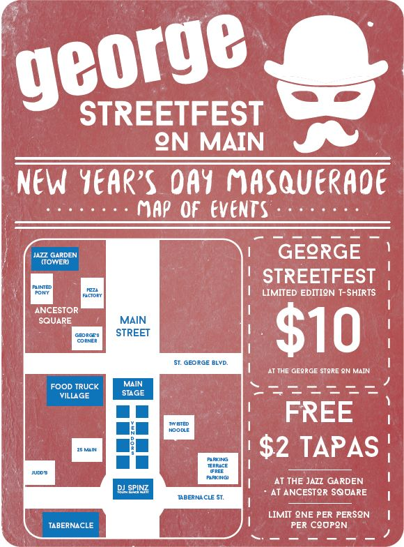 George Streetfest on Main New Year's Day Masquerade event map | Image courtesy of Melynda Thorpe, St. George News