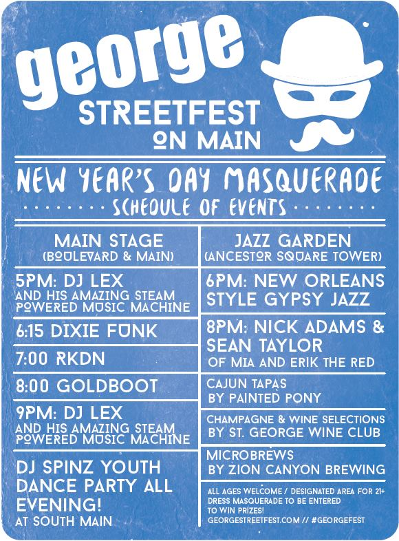George Streetfest on Main New Year's Day Masquerade event schedule   Image courtesy of Melynda Thorpe, St. George News