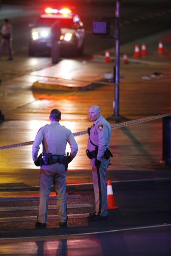 Police and emergency crews respond to the scene of a car accident along Las Vegas Boulevard, Sunday, Las Vegas, Nevada, Dec. 20, 2015| AP Photo by John Locher, St. George News