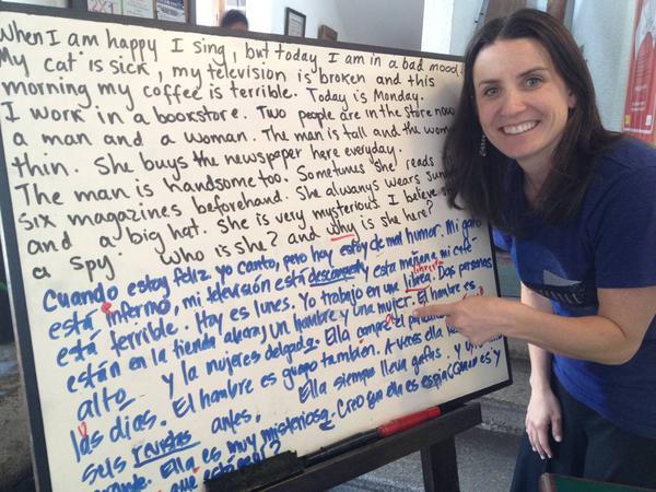 Kat Dayton with a corrected language exercise during her Spanish immersion program. February 2012, Antigua, Guatemala   Photo courtesy of Kat Dayton, St. George News