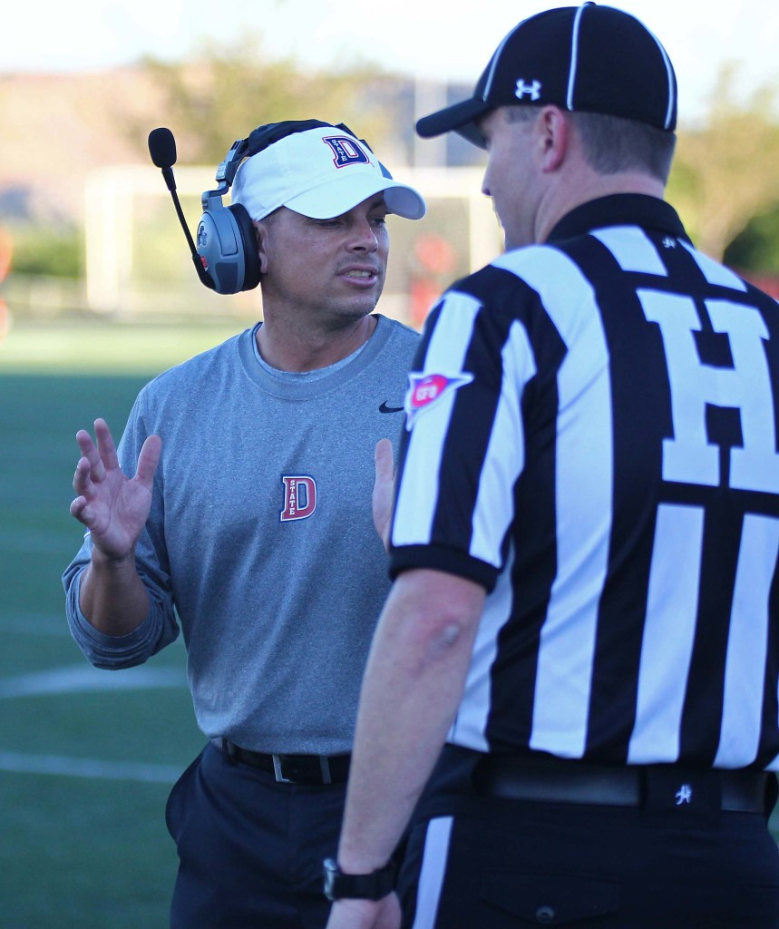 First-year head coach Shay McClure, file photo from Dixie State University vs. Azusa Pacific University, Football, St. George, Utah, Sept. 26, 2015, | Photo by Robert Hoppie, ASPpix.com, St. George News