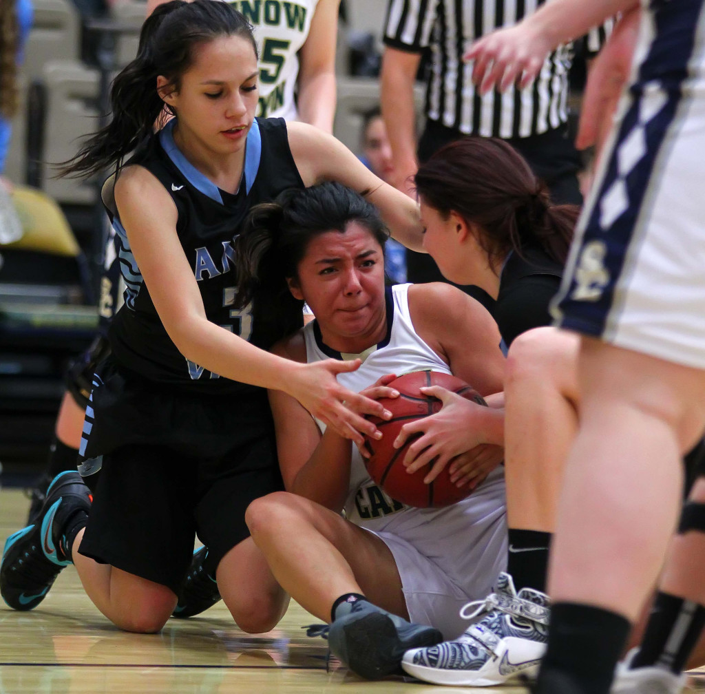 Snow Canyon's Sedale Sanden (10) and Canyon View's Alycia Flores (3) battle for a loose ball, Snow Canyon vs. Canyon View, Girls Basketball, St. George, Utah, Dec. 10, 2015, | Photo by Robert Hoppie, ASPpix.com, St. George News