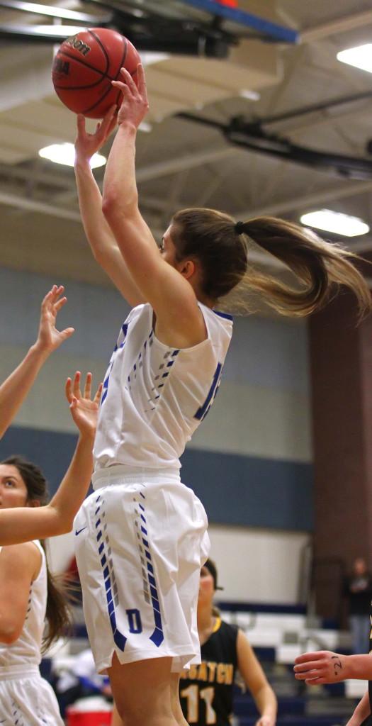 Dixie's Kelsea Barker (15), Dixie vs. Wasatch, Girls Basketball, St. George, Utah, Dec. 12, 2015, | Photo by Robert Hoppie, ASPpix.com, St. George News