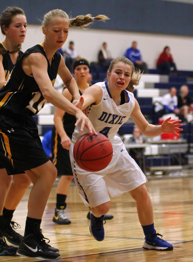 Dixie's Kiesha Jones (4), Dixie vs. Wasatch, Girls Basketball, St. George, Utah, Dec. 12, 2015, | Photo by Robert Hoppie, ASPpix.com, St. George News