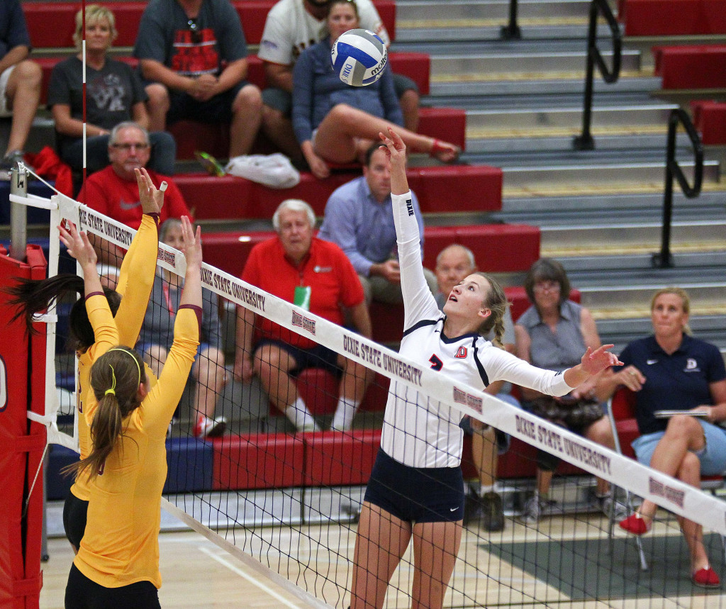 Lindsay Jones, Dixie State University Volleyball, St. George, Utah, Sept. 2, 2015, | Photo by Robert Hoppie, ASPpix.com, St. George News