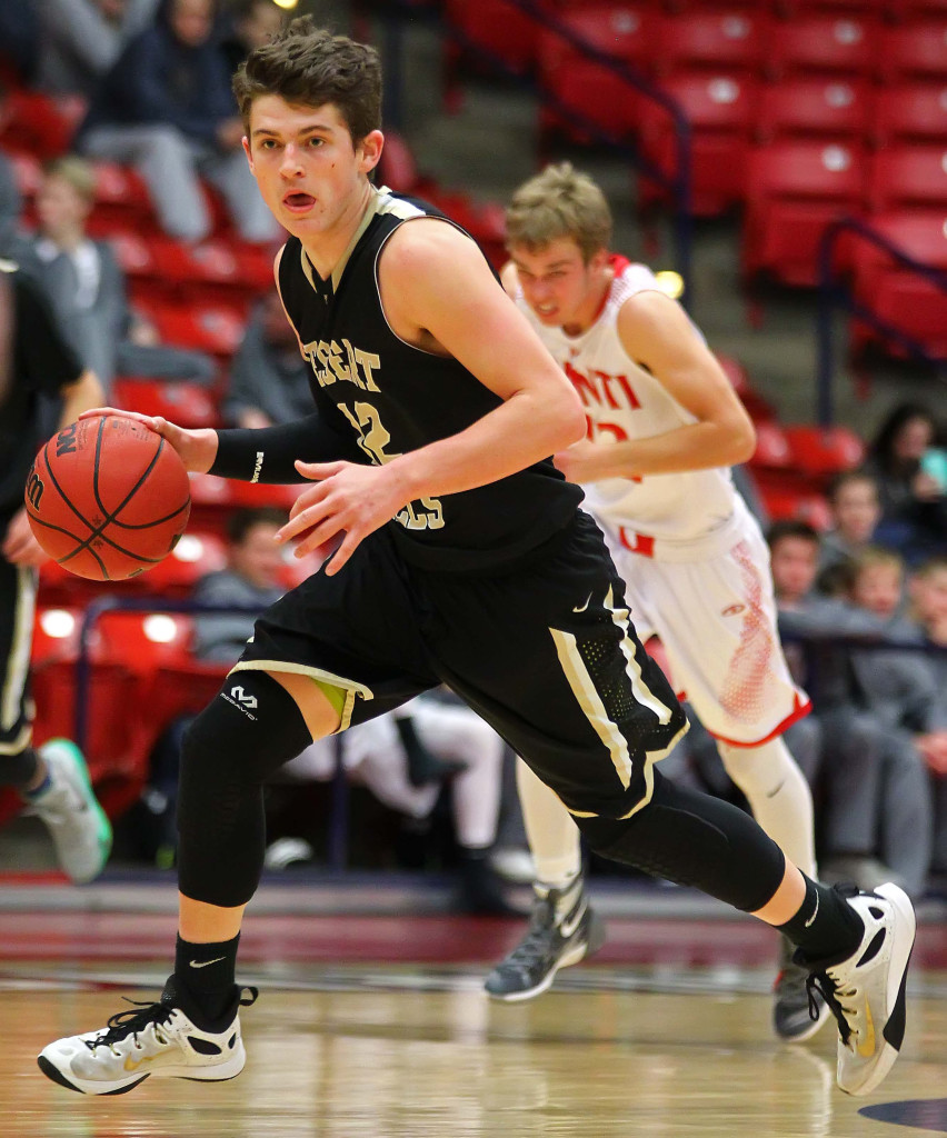 Desert Hills' Marcus Mckone (12), Desert Hills vs. Manti, Coach Walker Classic Boys Basketball, St. George, Utah, Dec. 17, 2015, | Photo by Robert Hoppie, ASPpix.com, St. George News