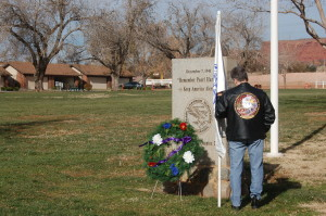 Paying tribute to the fallen at a memorial located in Vernon Worthen Park, St. George, Utah, Dec. 7, 2015 | Photo by Hollie Reina, St. George News