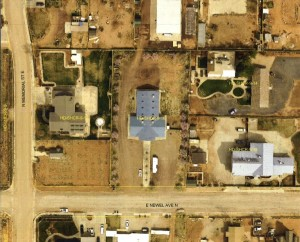 Aerial view of the Steed Sunday School building, the blue T-shaped building in the center of the image | Image courtesy Washington County, St. George News