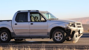 A 2004 Ford Explorer pickup that had extensive damage after the driver fell asleep at the wheel and crashed into the center guardrail on Dec. 26, 2015 |Photo by Don Gilman, St. George News