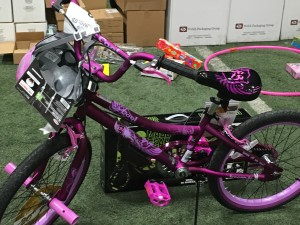 A bicycle in the Toys for Tots warehouse in Cedar City will be delivered to one fortunate child on Christmas Day. Cedar City, Utah, Dec. 23, 2015 | Photo by Tracie Sullivan, St. George News / Cedar City News