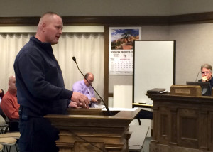 Cedar City Fire Chief Mike Phillips discusses study results with the council in council chambers, Cedar City, Utah, Dec. 2, 2015 | Photo by Carin Miller, St. George News