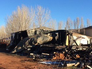 What the Barlow family returned to the morning after the fire, The Barlow's property, Centennial Park, Ariz., Dec. 19, 2015 | Courtesy of Jennifer Barlow, St. George News