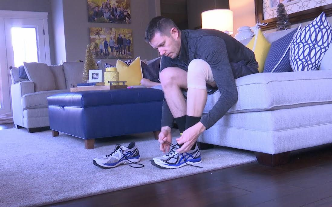 Josh Terry laces up for run in preparation for the Boston Marathon, St. George, Utah, December 24, 2015 | Photo by Hollie Reina, St. George News
