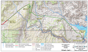 Map of proposed Lake Powell pipeline route | Image courtesy Utah Division of Water Resources | Click image to enlarge