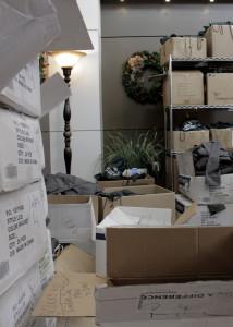 Boxes filled with gear sporting the new logo. Cedar City Hospital, Cedar City, Utah, Dec. 4, 2015 | Photo by Carin Miller, St. George News - Cedar City News