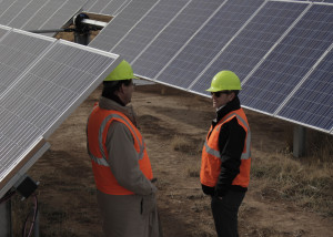 Developers discuss the final completion of an 8-year endeavor in solar fields at the Utah Red Hills Renewable Park, Parowan, Utah, Dec. 10, 2015 | Photo taken by Carin Miller, St. George News