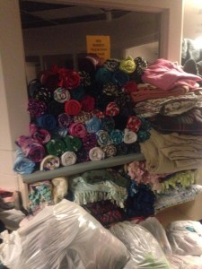 Hundreds of new and slightly used blankets donated to WCYCC, St. George, Utah, Nov. 23, 2015| Photo courtesy of Red Rock Customz