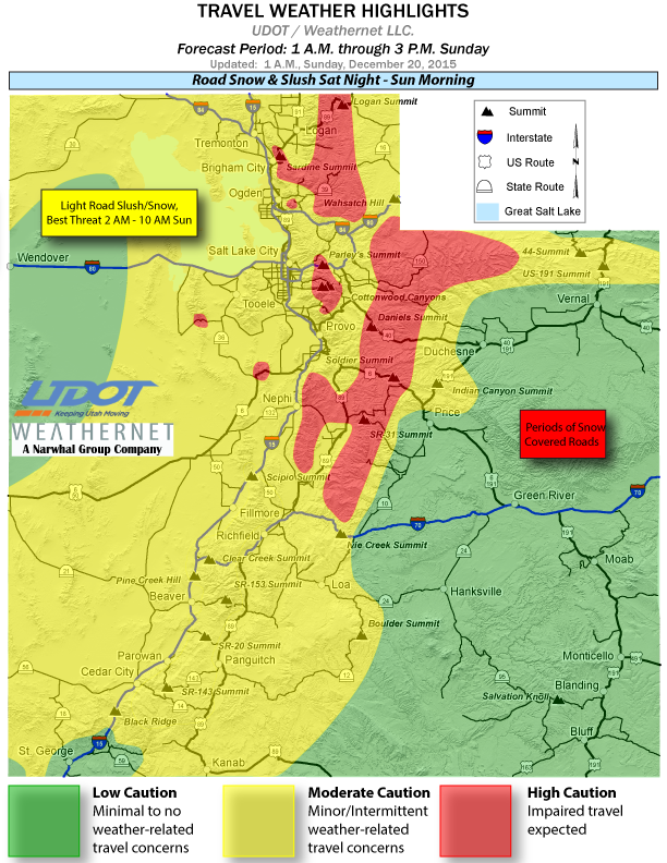 Travel weather highlights as of 1 a.m. Sunday posted by Utah Department of Transportation, Dec. 20, 2015 | Image courtesy of UDOT, St. George News