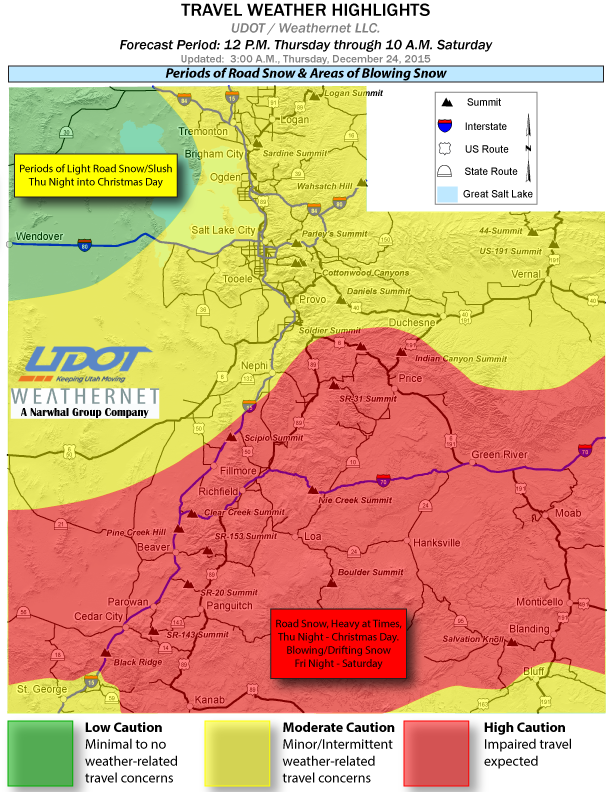 Travel weather highlights as of 3 a.m. Thursday, for the forecast period from noon Thursday through 10 a.m. Friday, posted by Utah Department of Transportation, Dec. 24, 2015   Image courtesy of UDOT, St. George News   Click on image to enlarge