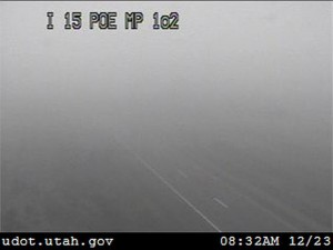 Heavy fog blankets I-15 Wednesday morning as this view from a UDOT traffic camera at the Port of Entry shows. St. George, Utah, Dec. 23, 2015 | Photo courtesy of Utah Department of Transportation, St. George News