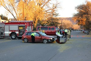 An accident Wednesday morning injured one driver and damaged two cars, St. George, Utah | Photo by Ric Wayman, St. George News