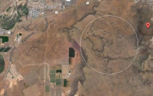 Circle denotes the reported area where an airplane crash killed two people Thursday afternoon, between Sullivan's Knoll and Flora Tech Road in Hurricane, Utah   Image courtesy of Google Maps