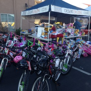 Donated bikes and toys at Car Guys Care Toys for Tots Classic Car Show & Shine, St. George, Utah, Dec. 6, 2014 | Photo by Holly Coombs, St. George News