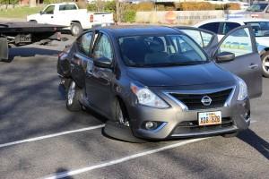 A 2-car accident on Flood Street Friday damaged two cars, St. George, Utah, Dec. 4, 2015 | Photo by Ric Wayman, St. George News