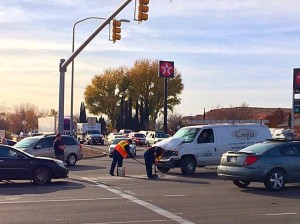 A three-vehicle collision near the intersection of Green Springs Drive and Red Hills Parkway-Buena Vista Drive impeded traffic and rendered two vehicles inoperable, Washington, Utah, Dec. 8, 2015 | Photo by Kimberly Scott, St. George News
