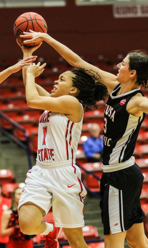 Dixie State's Tramina Jordan (1), Dixie State vs Azusa Pacific, Girls Basketball, St George, Utah, Dec.19, 2015, | Photo by Kevin Luthy, St. George News