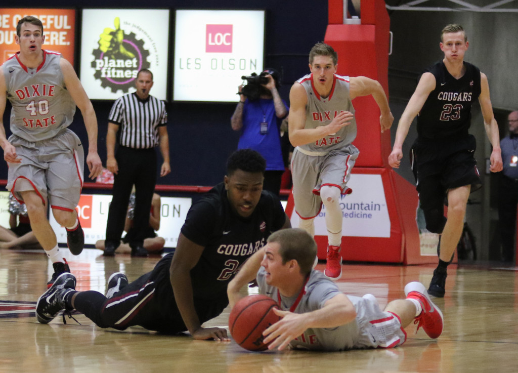 Dixie State's Mason Sawyer #12 and Azusa Pacific's LyDell Cardwell #24, Dixie State vs Azusa Pacific, Basketball, St George, Utah, Dec.19, 2015,   Photo by Kevin Luthy, St. George News