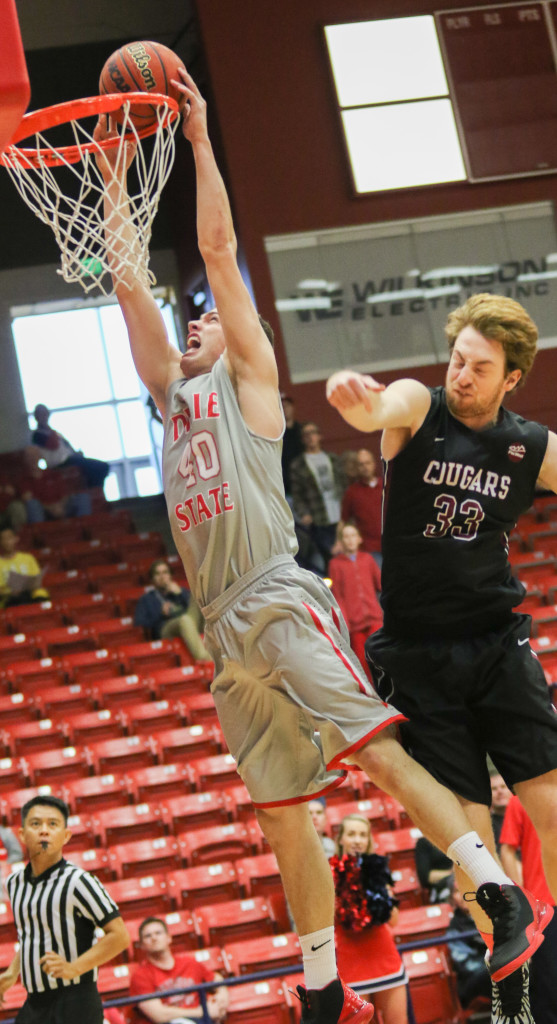 Dixie State's Josh Fuller #40 and Azusa Pacific's Petar Kutlesic #33, Dixie State vs Azusa Pacific, Basketball, St George, Utah, Dec.19, 2015,   Photo by Kevin Luthy, St. George News