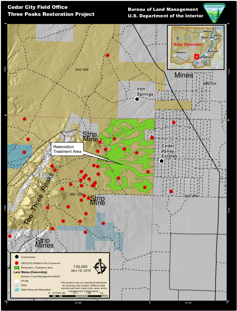 Ten year fire occurrence map | Image courtesy of Bureau of Land Management, St. George News | Click image to enlarge