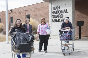 People leave the Utah National Guard Armory after participating in the Holiday Assistance program, Cedar City, Utah, date unspecified | Photo courtesy of SUU, St. George News