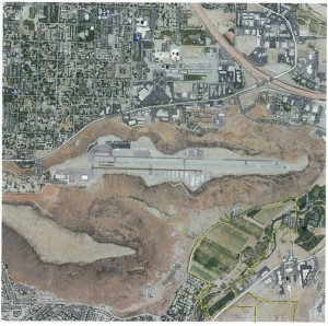 A map overlooking the location of the Ridge Top Complex, formerly the St. George Municipal Airport   Image courtesy of the City of St. George, St. George News